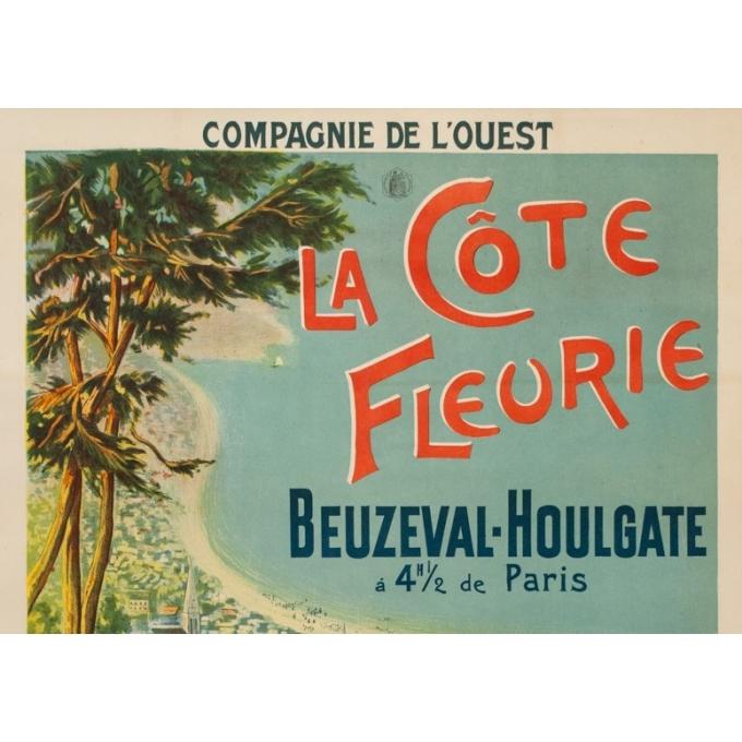Affiche ancienne de 1895 - Compagnie de l'Ouest - La Côte fleurie Beuzeval-Houlgate - 76 par 106cm - 2