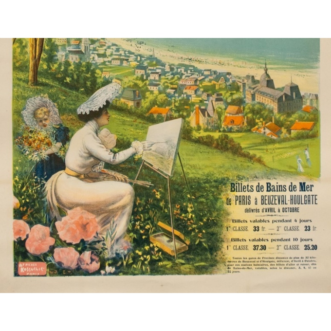 Affiche ancienne de 1895 - Compagnie de l'Ouest - La Côte fleurie Beuzeval-Houlgate - 76 par 106cm - 3