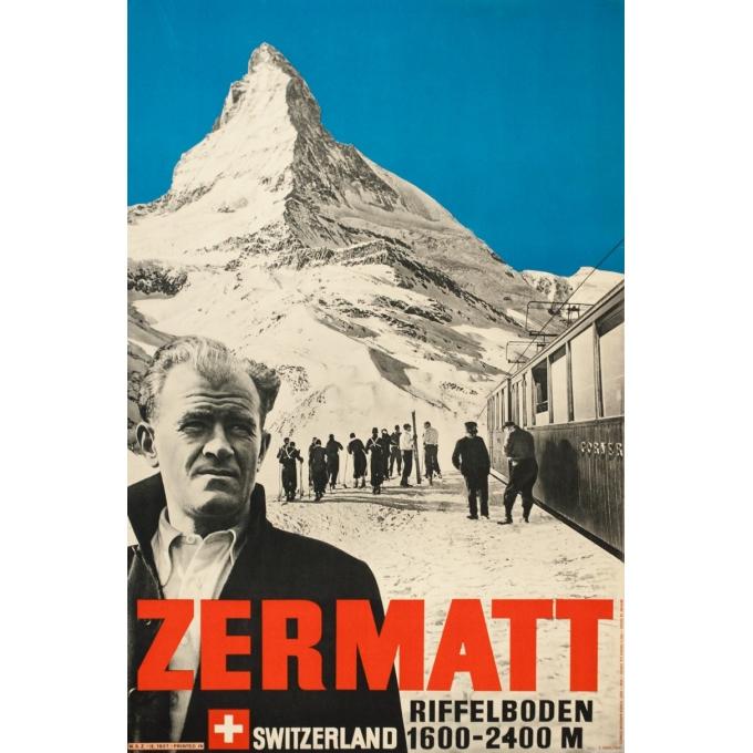 Affiche ancienne de voyage - Perrn-Barberini - 1937 - Zermatt - 98 par 64 cm