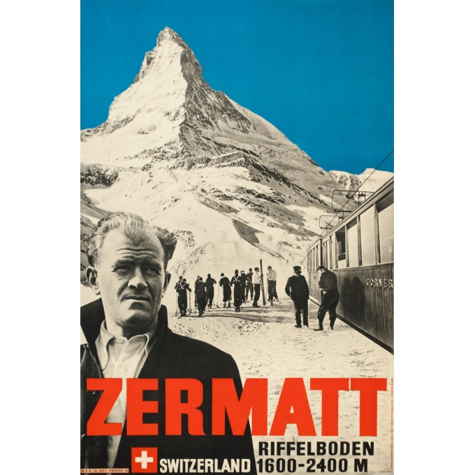 Vintage travel poster - Perrn-Barberini - 1937 - Zermatt - 38.6 by 25.2 inches