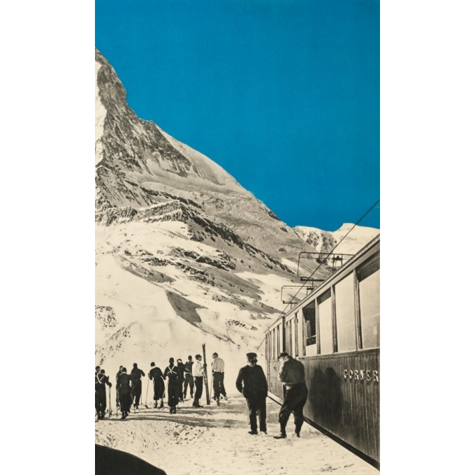 Vintage travel poster - Perrn-Barberini - 1937 - Zermatt - 38.6 by 25.2 inches - 2