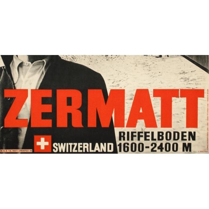 Affiche ancienne de voyage - Perrn-Barberini - 1937 - Zermatt - 98 par 64 cm - 3