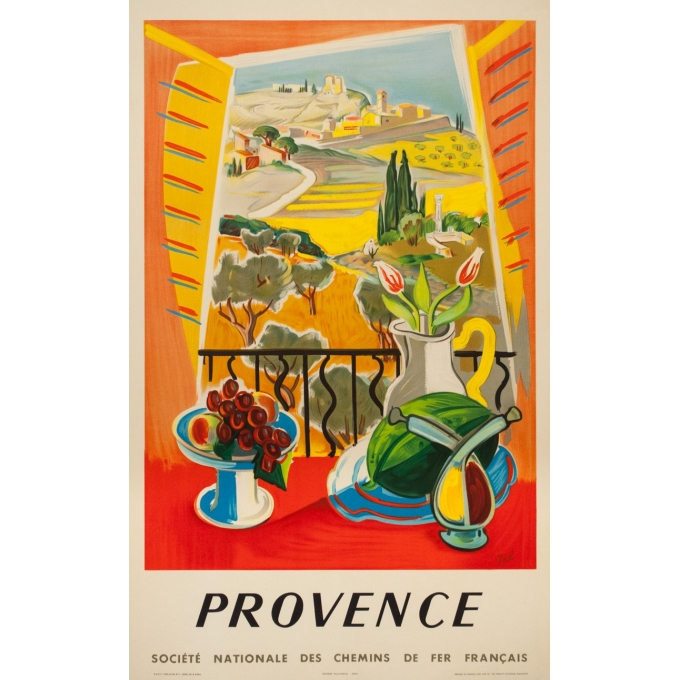 Affiche ancienne de voyage - Jal - 1959 - Provence SNCF - 99.5 par 62 cm