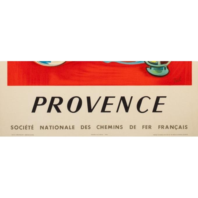 Affiche ancienne de voyage - Jal - 1959 - Provence SNCF - 99.5 par 62 cm - 3