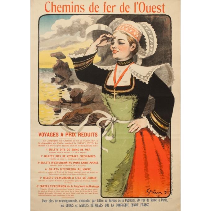 Affiche ancienne de voyage - Grün - 1901 - Bretagne Chemin de Fer de l'Ouest - 105.5 par 75 cm