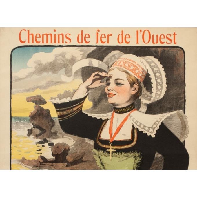 Affiche ancienne de voyage - Grün - 1901 - Bretagne Chemin de Fer de l'Ouest - 105.5 par 75 cm - 2