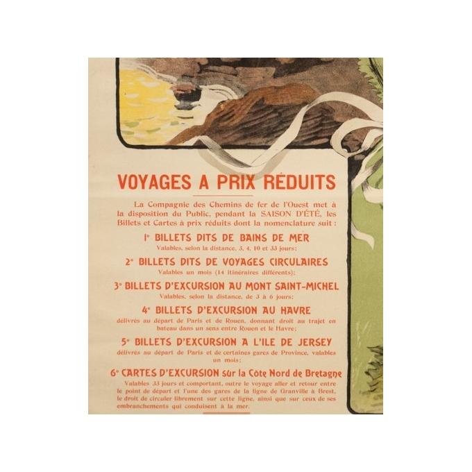 Affiche ancienne de voyage - Grün - 1901 - Bretagne Chemin de Fer de l'Ouest - 105.5 par 75 cm - 3