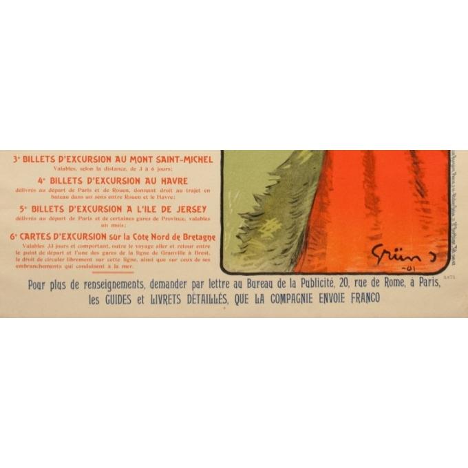 Vintage travel poster - Grün - 1901 - Bretagne Chemin de Fer de l'Ouest - 41.5 by 29.5 inches - 4