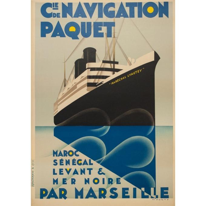 Affiche ancienne de voyage - M.Ponty - Circa 1930  - Compagnie Navigation Paquet - 104.5 par 73 cm