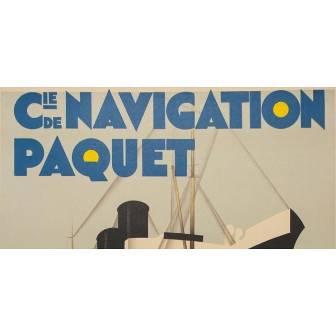 Affiche ancienne de voyage - M.Ponty - Circa 1930  - Compagnie Navigation Paquet - 104.5 par 73 cm - 2