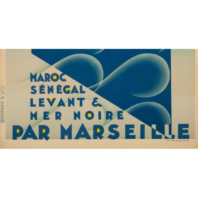 Affiche ancienne de voyage - M.Ponty - Circa 1930  - Compagnie Navigation Paquet - 104.5 par 73 cm - 3