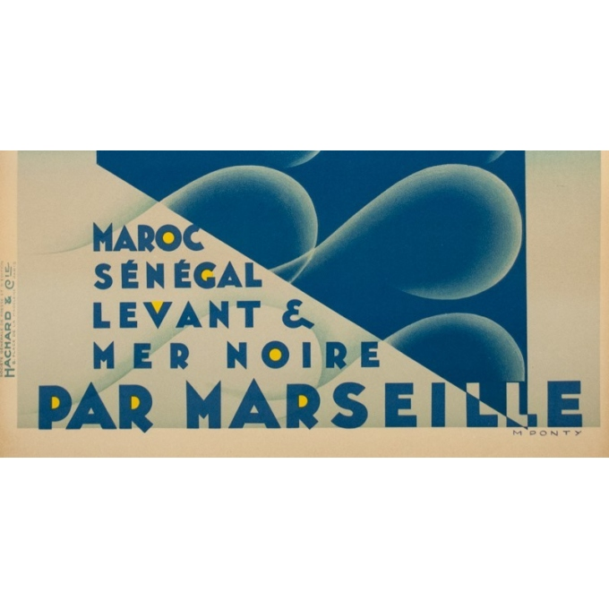 Vintage travel poster - M.Ponty - Circa 1930  - Compagnie Navigation Paquet - 41.1 by 28.7 inches - 3