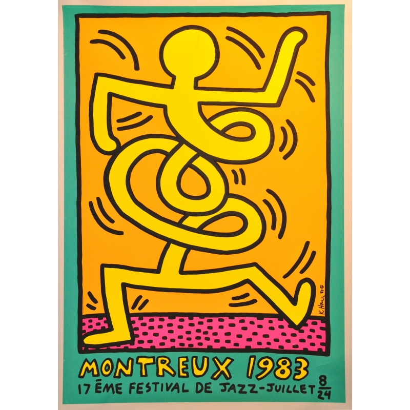 Original poster of Montreux 1983 17th Jazz music festival by harring. Elbé Paris.