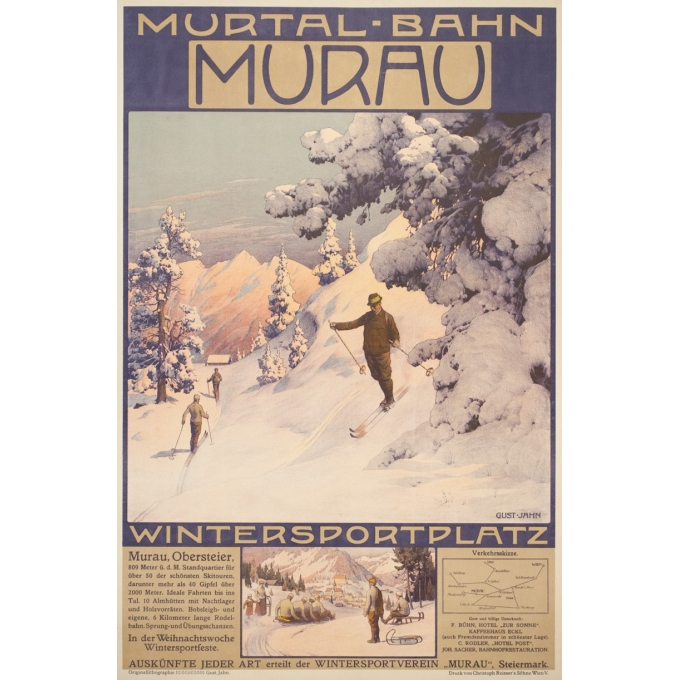 Vintage travel poster - Gustave Jahn - Circa 1900 - Murau - 40.6 by 26.8 inches
