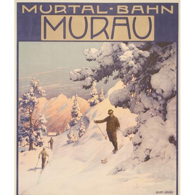 Vintage travel poster - Gustave Jahn - Circa 1900 - Murau - 40.6 by 26.8 inches - 2
