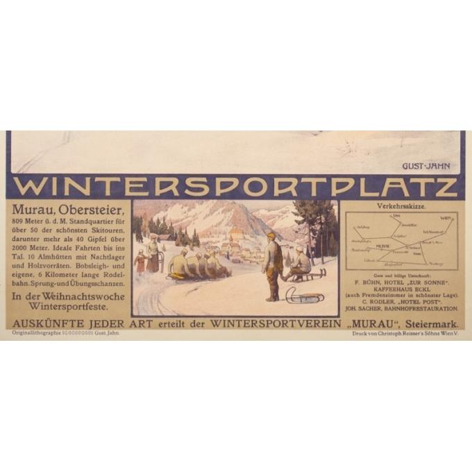 Affiche ancienne de voyage - Gustave Jahn - Circa 1900 - Murau - 103 par 68 cm - 3