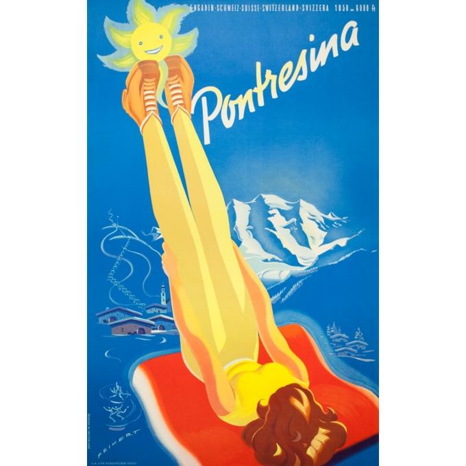 Affiche ancienne de voyage - Peikert - Circa 1950 -  Pontresina - 102 par 64 cm