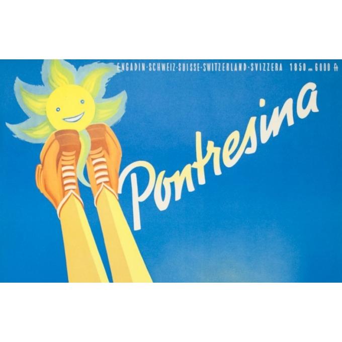 Affiche ancienne de voyage - Peikert - Circa 1950 -  Pontresina - 102 par 64 cm - 2