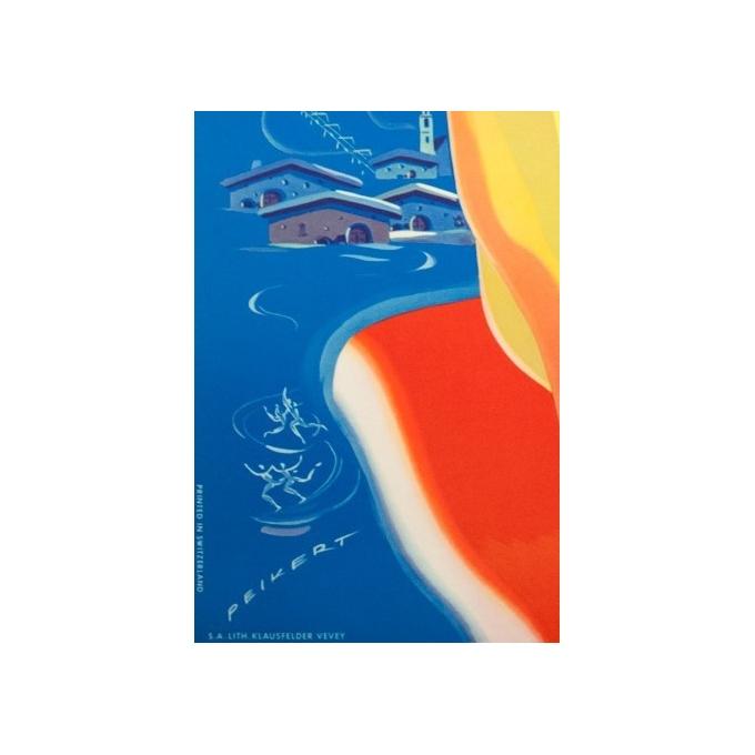 Affiche ancienne de voyage - Peikert - Circa 1950 -  Pontresina - 102 par 64 cm - 3