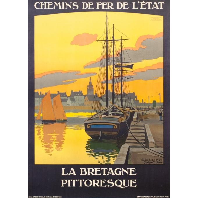 Affiche ancienne de voyage - Constant Duval  - Circa 1910 - Roscoff Bretagne Pittoresque - 105 par 75.5 cm