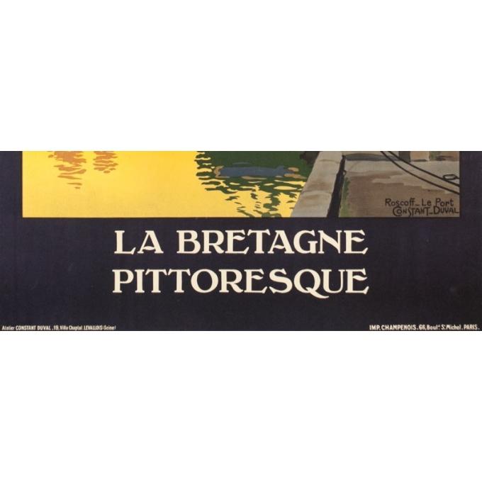 Affiche ancienne de voyage - Constant Duval  - Circa 1910 - Roscoff Bretagne Pittoresque - 105 par 75.5 cm - 3