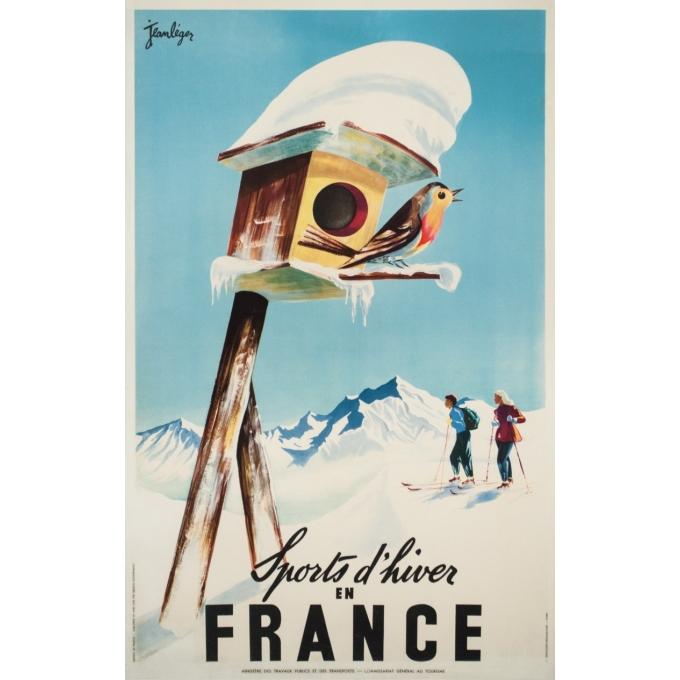 Affiche ancienne de voyage - Jean Leger - Circa 1950 - Sports d'hiver en France - 99 par 62.5 cm