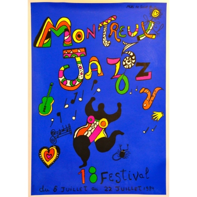 Original poster of the Jazz music festival at Montreux 1984 by Nikki. Elbé Paris.