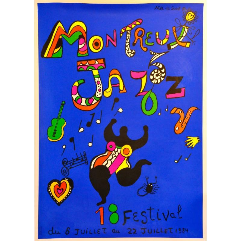Original poster of the Jazz music festival at Montreux 1984 by Nikki. Elbé Paris.
