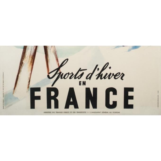 Affiche ancienne de voyage - Jean Leger - Circa 1950 - Sports d'hiver en France - 99 par 62.5 cm - 3