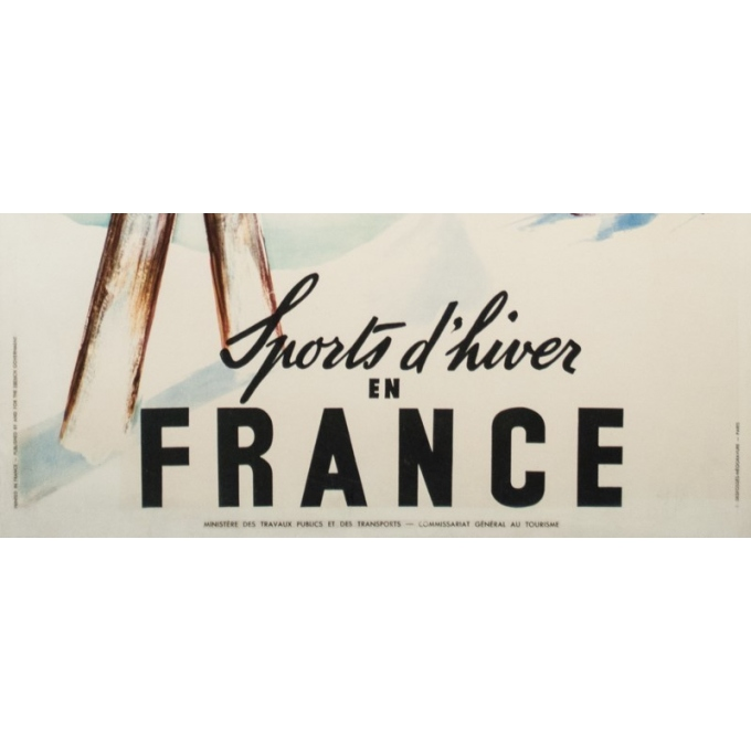 Vintage travel poster - Jean Leger - Circa 1950 - Sports d'hiver en France - 39 by 24.6 inches - 3