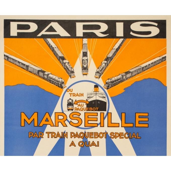 Affiche ancienne voyage - Circa 1930 - Paris Marseille Afrique du Nord Compagnie Transatlantique PLM - 100 par 60.5 cm - 2
