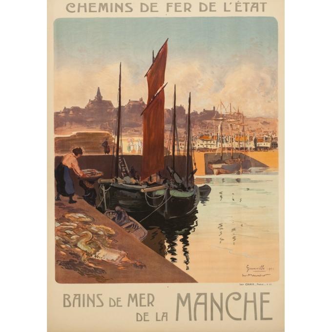 Affiche ancienne de voyage - Meunier - 1921 - Granville - 102.5 par 74 cm