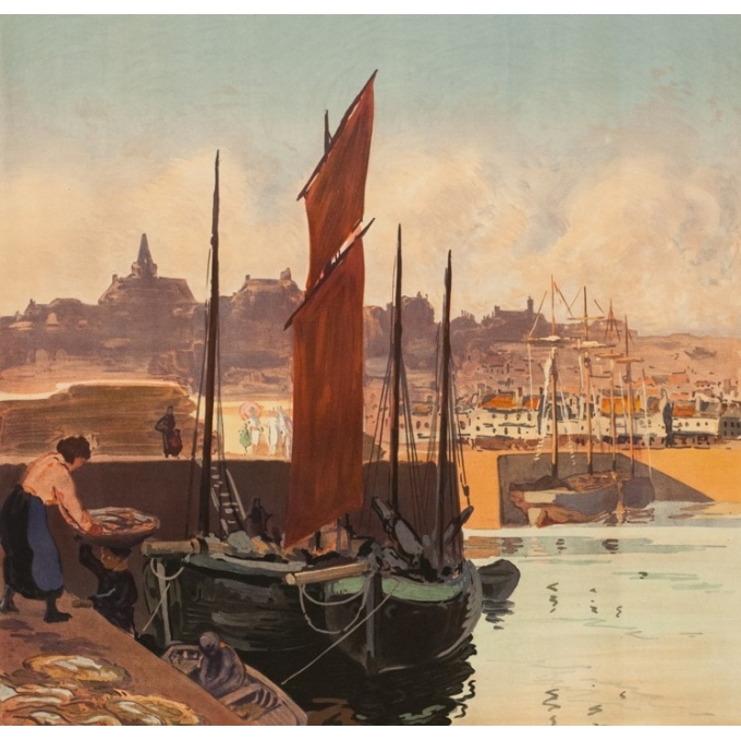 Affiche ancienne de voyage - Meunier - 1921 - Granville - 102.5 par 74 cm - 2