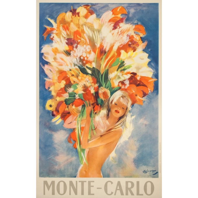 Vintage travel poster - J.G.Domergue - Circa 1950 - Montecarlo - 38.4 by 25 inches