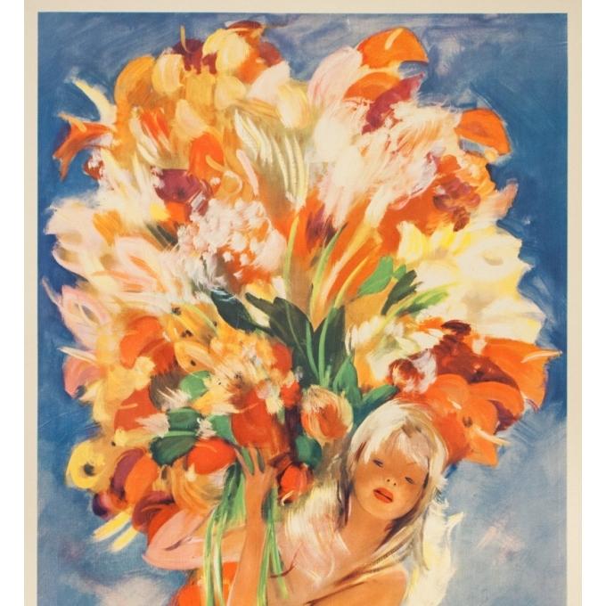 Affiche ancienne de voyage - J.G.Domergue - Circa 1950 - Montecarlo - 97.5 par 63.5 cm - 2