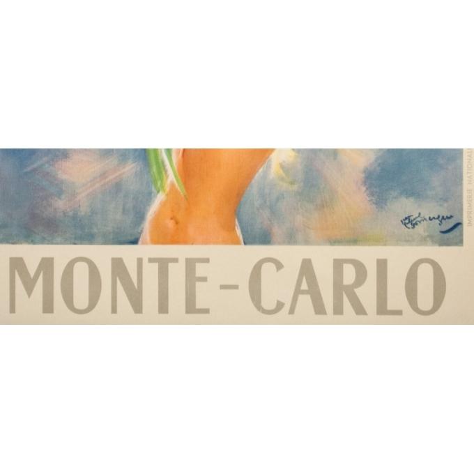 Affiche ancienne de voyage - J.G.Domergue - Circa 1950 - Montecarlo - 97.5 par 63.5 cm - 3