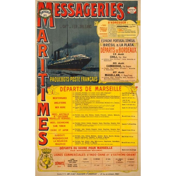Vintage travel poster - Henri Rudaux - 1909 - Messagerie Maritime Paquebot Poste Français - 42.5 by 25.6 inches
