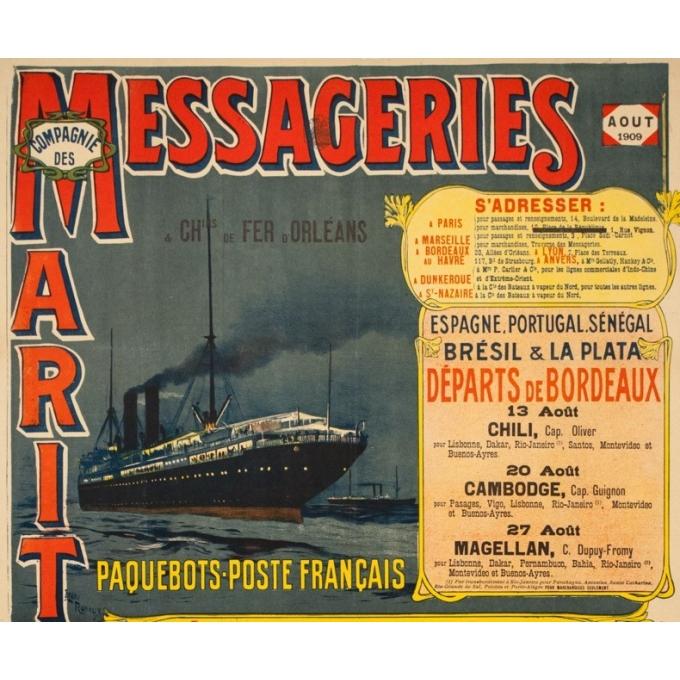 Vintage travel poster - Henri Rudaux - 1909 - Messagerie Maritime Paquebot Poste Français - 42.5 by 25.6 inches - 2