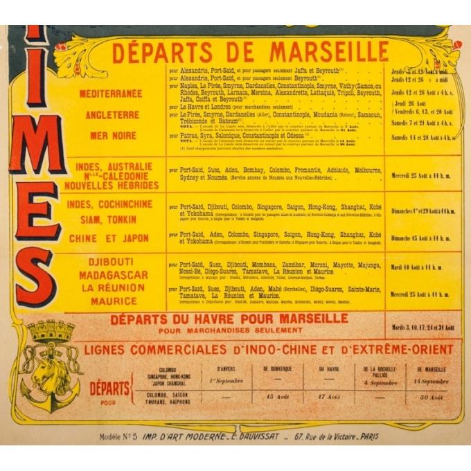 Vintage travel poster - Henri Rudaux - 1909 - Messagerie Maritime Paquebot Poste Français - 42.5 by 25.6 inches - 3