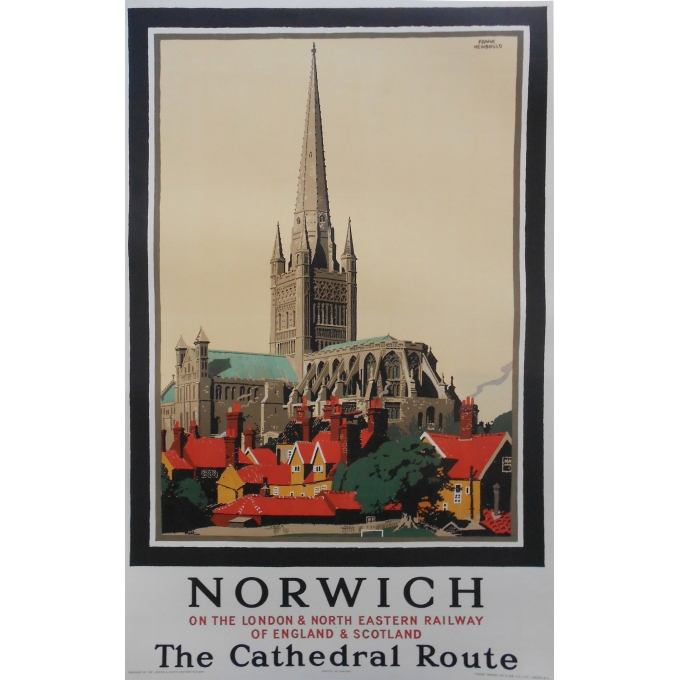Affiche originale Norwich la route vers la Cathédrale. Elbé Paris.