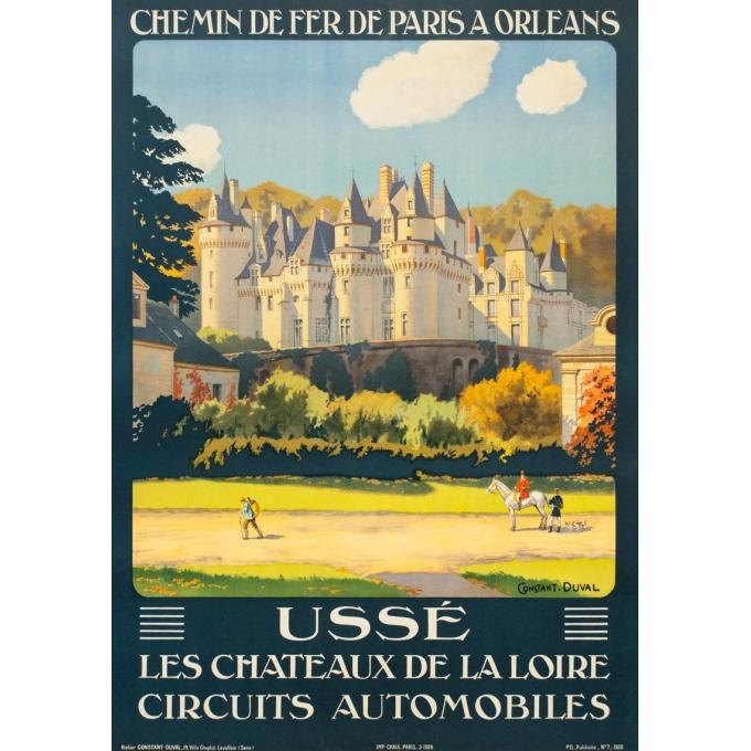 Affiche ancienne de voyage - Constant Duval  - 1928 - Ussé Château de la Loire - 105 par 74 cm