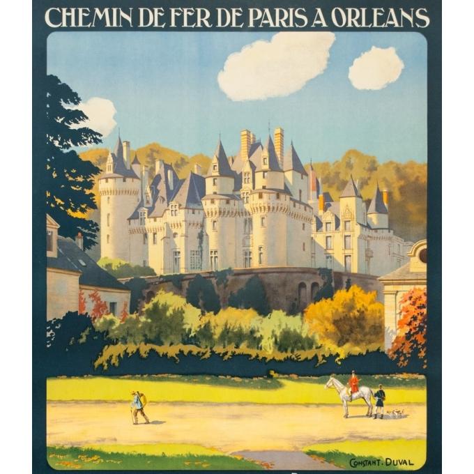 Affiche ancienne de voyage - Constant Duval  - 1928 - Ussé Château de la Loire - 105 par 74 cm - 2