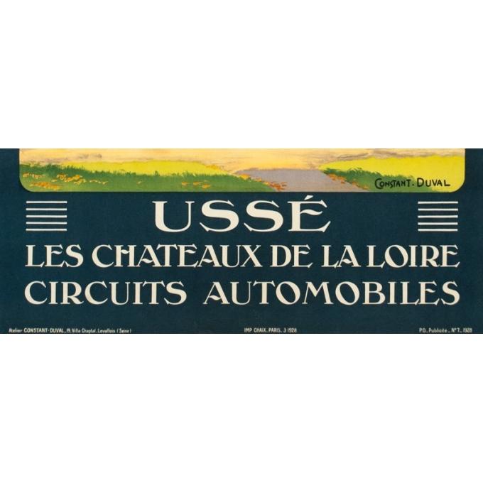 Affiche ancienne de voyage - Constant Duval  - 1928 - Ussé Château de la Loire - 105 par 74 cm - 3