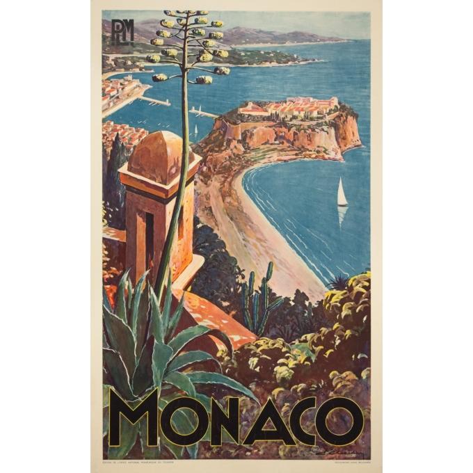 Vintage travel poster - E.Clérissi - Circa 1925 - Monaco PLM - 39.4 by 24.4 inches