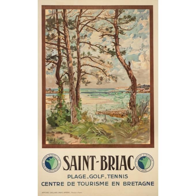 Vintage travel poster - A.Nazal - Circa 1920 - Saint-Briac - 39.4 by 24.4 inches
