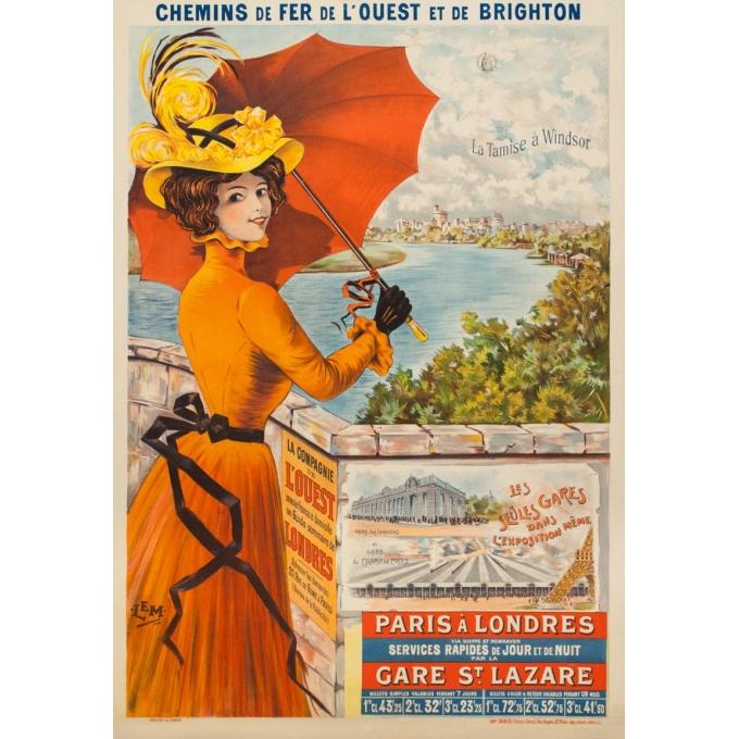 Affiche ancienne de voyage - Lem - 1900 - La Tamise à Windsor Paris à Londres - 106 par 74 cm
