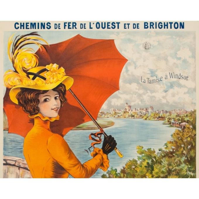 Affiche ancienne de voyage - Lem - 1900 - La Tamise à Windsor Paris à Londres - 106 par 74 cm - 2