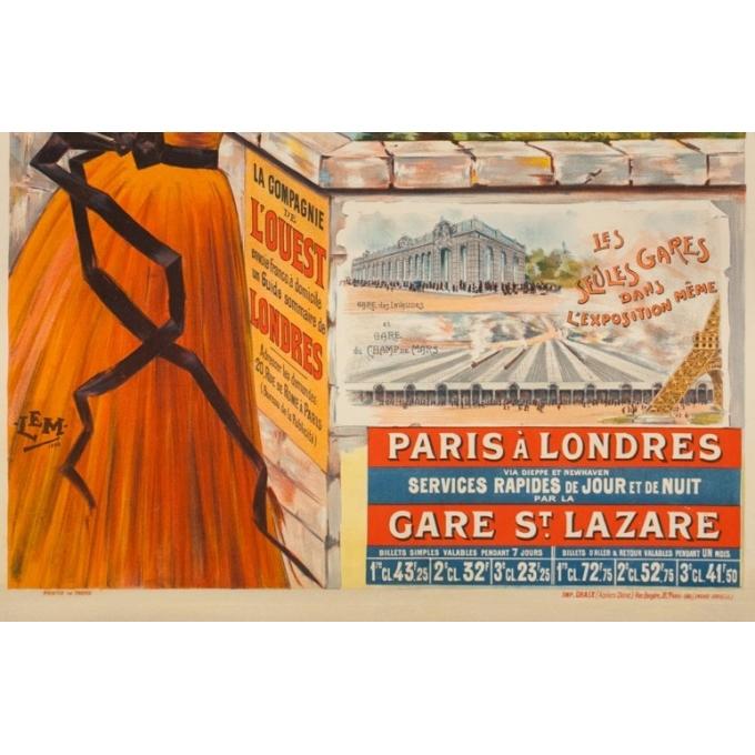 Affiche ancienne de voyage - Lem - 1900 - La Tamise à Windsor Paris à Londres - 106 par 74 cm - 3