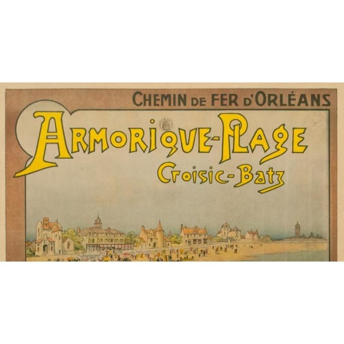 Vintage travel poster - G.Fraipont - Circa 1900 - Armorique Plage Le Croisic-Batz - 43.3 by 31.1 inches - 2