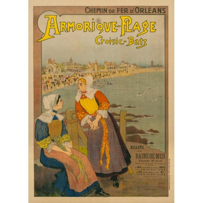 Affiche ancienne de voyage - G.Fraipont - Circa 1900 - Armorique Plage Le Croisic-Batz - 110 par 79 cm